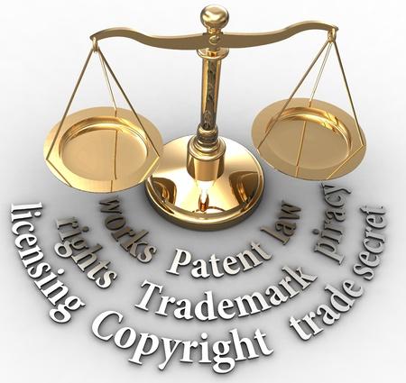 Escala con conceptos de propiedad intelectual de marcas patentes derechos de autor
