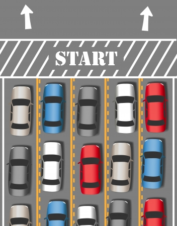 Cars take off on busy travel vacation or commute driving season time Illustration