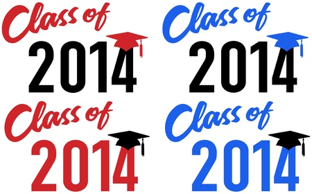 Class of 2014 graduation celebration announcement caps in red and blue school colors Vector