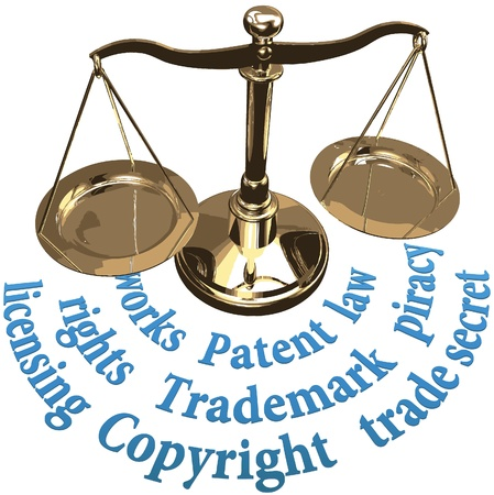 patent: Scale with intellectual property concepts of patent copyright trademarks Illustration