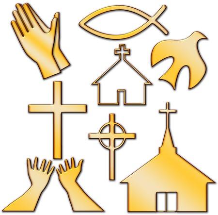 教会、十字、聖霊の鳩、魚、祈りのキリスト教の記号の設定
