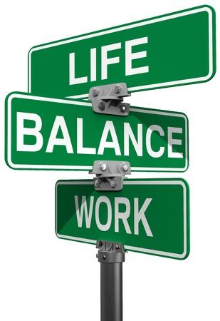 életmód: Jelek választhat munka és a magánélet vagy a Balance irányban Stock fotó