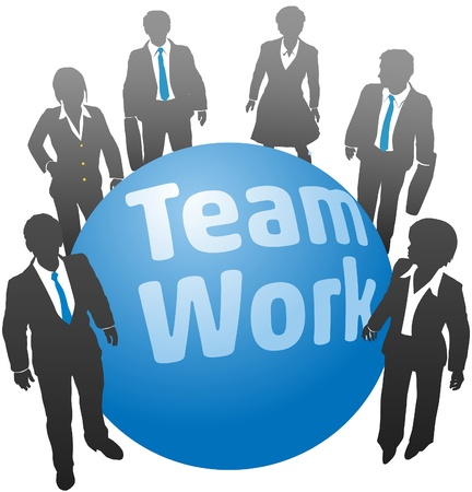 Team of business people stand together around teamwork symbol ball Vettoriali