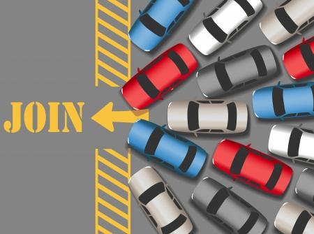 driving a car: Coches Visitantes multitud en unirse website ocupado o negocio