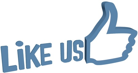 Big thumbs up to like us for social media site Vector