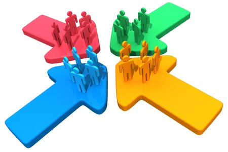 company merger: Four groups of people meet and connect at intersection of four arrows Stock Photo