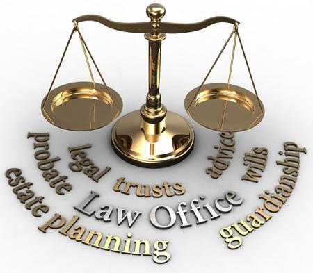 Schaal met juridische begrippen van estate planning successie testament advocaat