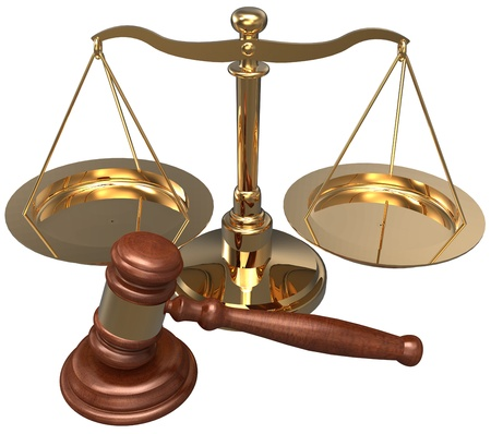 scales of justice: Scale and gavel as symbols of  law office lawyer attorney legal concepts Stock Photo
