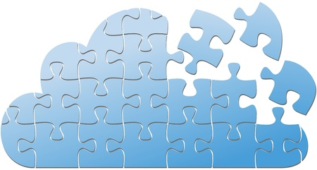 Pieces of jigsaw puzzle are solution to Cloud Computing platform problems 일러스트