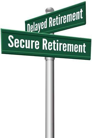 Señales de la calle como la elección entre la jubilación decisión de planificación inversión diferida o Secure Foto de archivo - 20238678