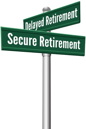 retirement savings: Street signs as choice between Delayed or Secure retirement investing planning decision