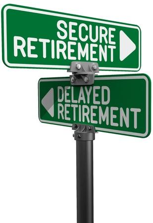 prendre sa retraite: Les plaques de rue que le choix entre la d�cision d'investir planification de retraite diff�r�e ou Secure Banque d'images