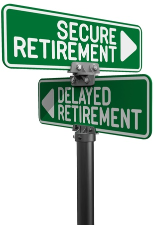 Street signs as choice between Delayed or Secure retirement investing planning decision photo