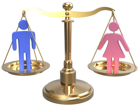 Equality scales weigh gender justice and sex issues Stock Photo - 20238684