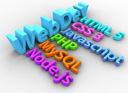 mysql: Website development tools HTML CSS SQL PHP node Stock Photo