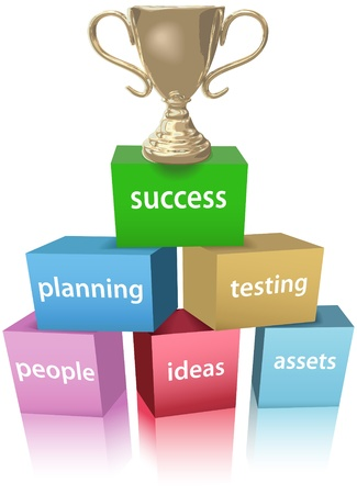 Success trophy on top of product development business plan cubes concept