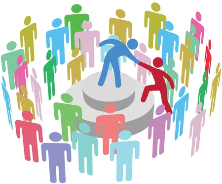 group  join: Leader helps speaker up to join him and talk to a diverse audience Illustration