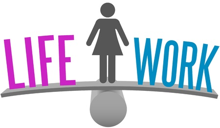 work life: Woman weighs Life and Work Balance decision on choice scale symbol Illustration