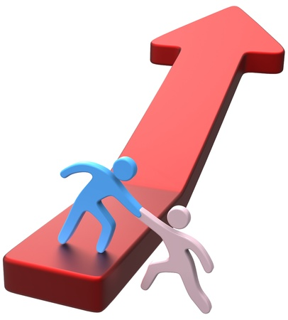 Persoon helpende hand aan vriend omhoog vooruitgang pijl lift naar betere toekomst Stockfoto