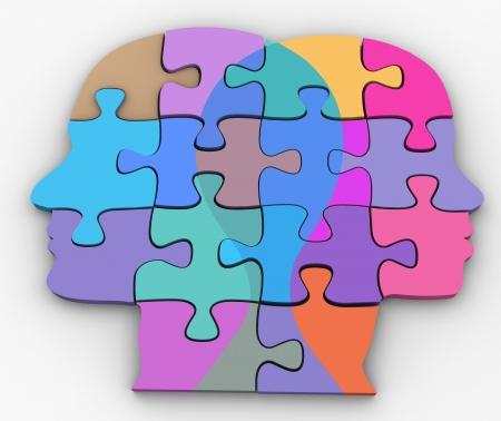 Man vrouw paar gezichten symbool van de relatie van puzzels probleem clippingpath extract schaduw Stockfoto