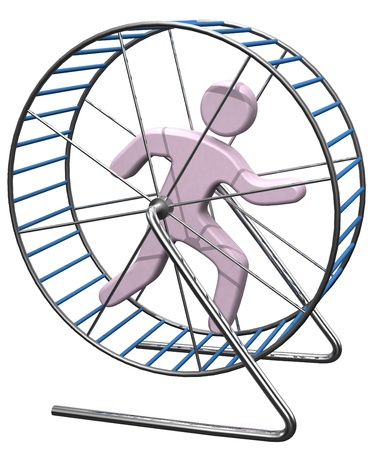 Person gets nowhere running in a hamster mouse or rat cage wheel treadmill photo