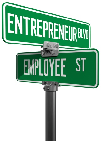 employed: Change career directions employee entrepreneur street direction signs