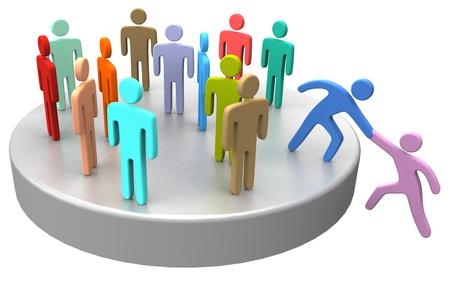 Helpende hand aan nieuw lid of huren join up met grote sociale groep bedrijf of vereniging Stockfoto