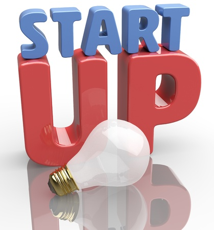 Startup business starts with new idea light bulb