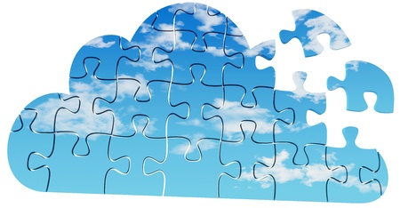 Pieces of jigsaw puzzle are solution to server and client Cloud Computing problems