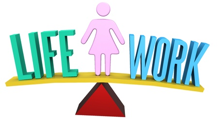 weighs: Woman weighs Life and Work Balance decision on choice scale symbol Stock Photo