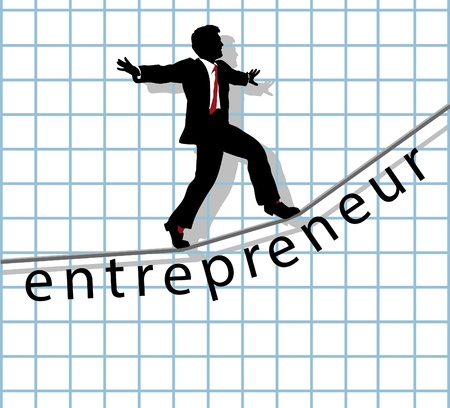 start up: Entrepreneur business man walks on financial tightrope to make start up success