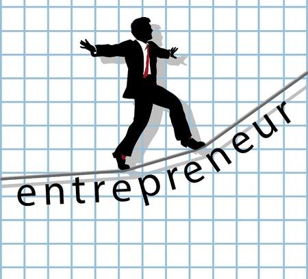 Entrepreneur business man walks on financial tightrope to make start up success