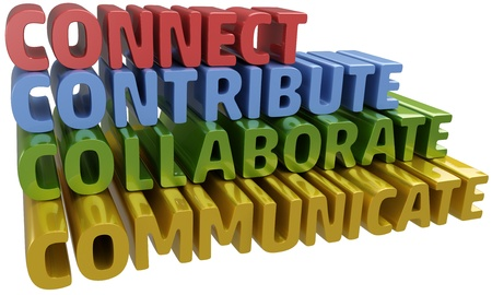 communicate  isolated: Lettter C words stack up collaboration connection contribution communication Stock Photo