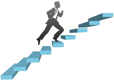 runs: Stylized businessman runs up challenge stairs to find success
