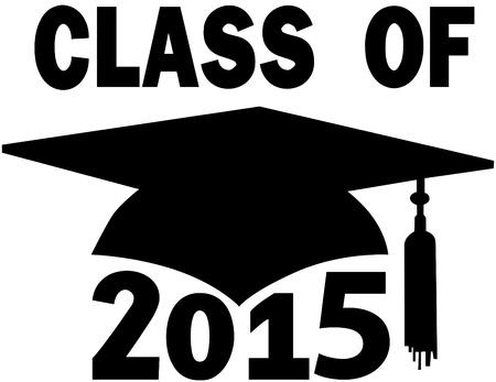 junior: Mortar board Graduation Cap for College or High School graduating Class of 2015 Illustration