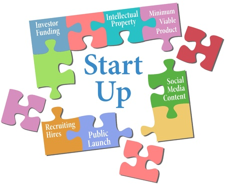 put up: Jigsaw puzzle pieces put together entrepreneur business start up plan  Illustration