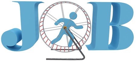 wheel: Person gets nowhere in rat race dead end job as hamster or mouse cage wheel treadmill