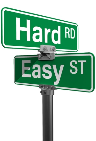 easy way: Signs choose between Hard Road or Easy Street life directions
