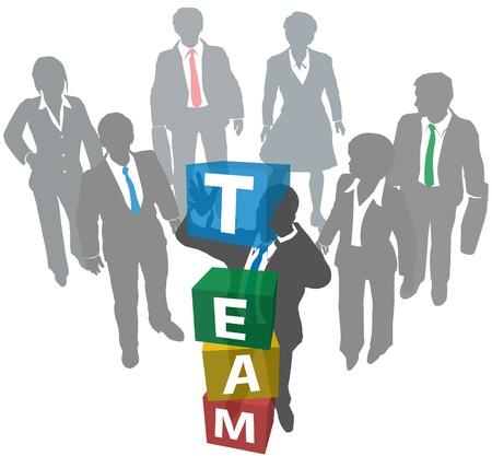 team building: Business leader building teamwork people company team Illustration