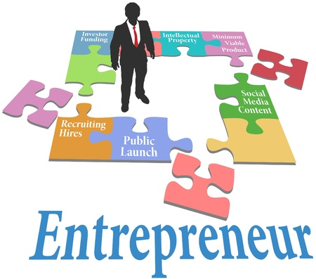 Entrepreneur to find solution to startup business model puzzle Stock Vector - 21122291