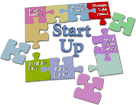 Jigsaw puzzle pieces put together entrepreneur business start up model  Stock Photo