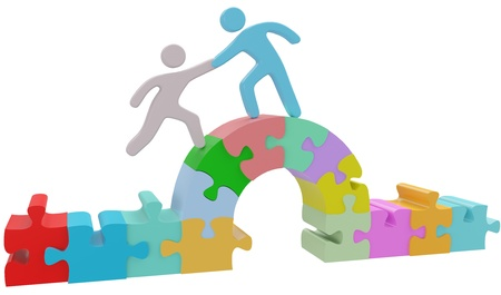 People join together to help solve bridge puzzle problem Stock Photo - 21129702