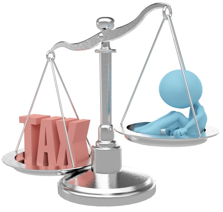 burden: Person suffer weight of unfair heavy tax burden Stock Photo