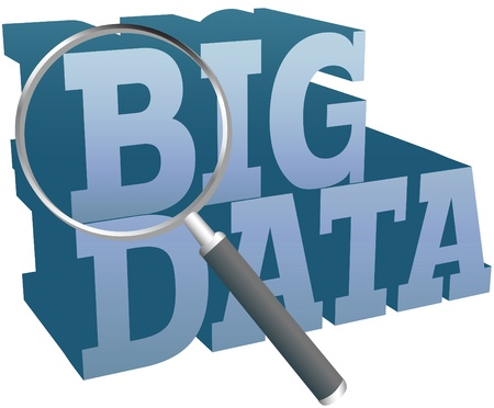 Magnifying glass search for Big Data information technology Illustration
