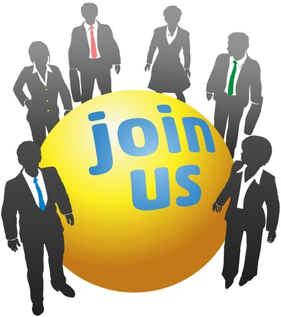 hire: Join up with a team of business standing together around company symbol ball