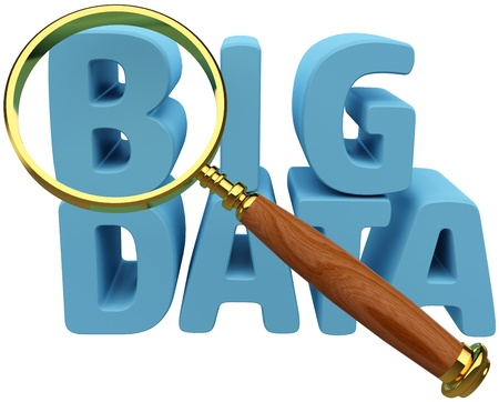 Magnifying glass to search for Big Data IT trends    Stock fotó