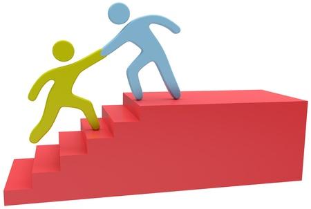 Les gens se réunissent pour aider à résoudre les problème étape monter les escaliers Banque d'images - 21524574