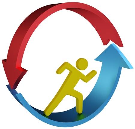 Person wird nirgends läuft im Teufelskreis Laufband oder Job Pfeile Standard-Bild - 21524575
