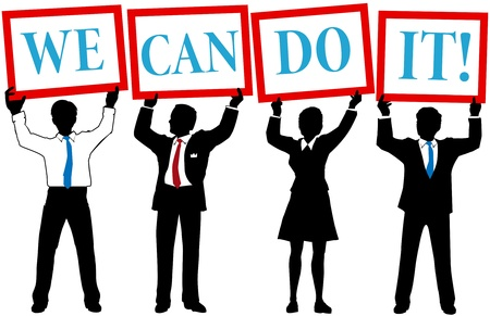 Business people team join to hold up We Can Do It signs Vectores