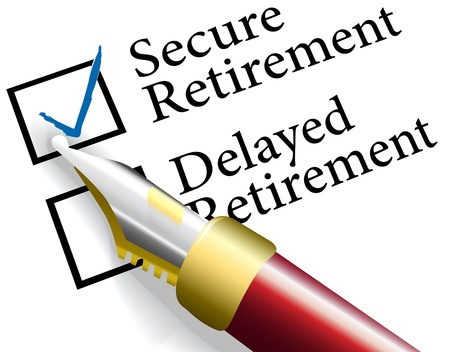 Pen to check choice of financial investments for secure not delayed retirement plan Stock Illustratie